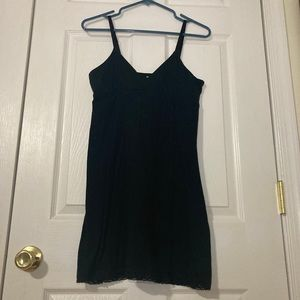 Blue Chic Long Black Fitted Top Flowy Tank